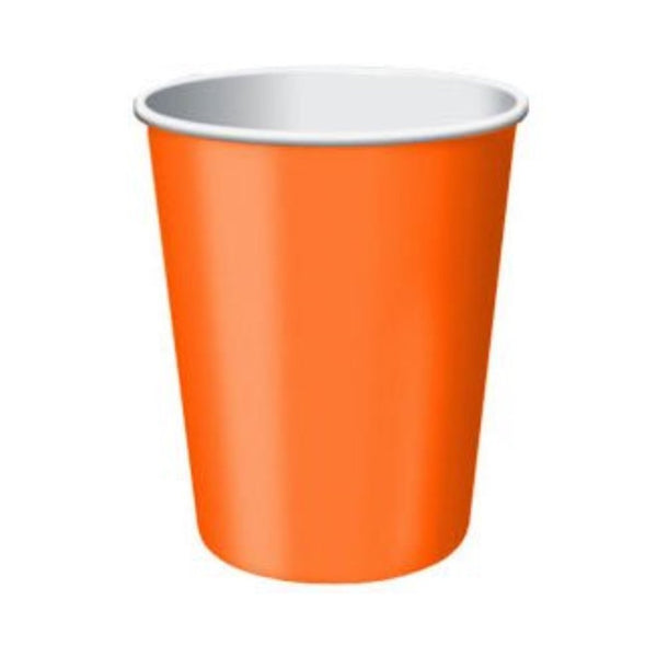 Orange Paper Cups, 8 Pcs