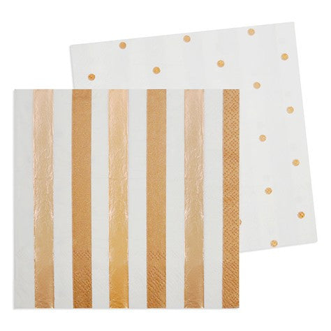 Rose Gold Stripe/ Dots Cocktail Napkins, 20pcs