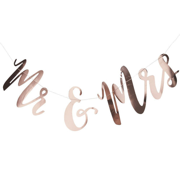 Rose Gold Mr & Mrs Banner