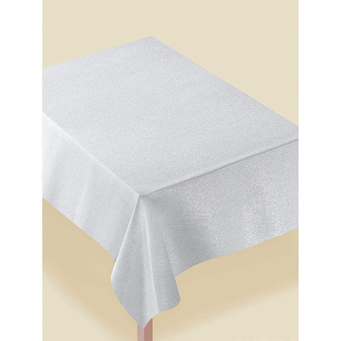 Metallic Silver Fabric Table Cover