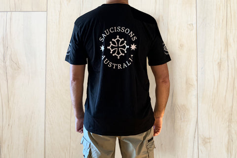 'Saucissons Australia' Logo Men's Cotton T-shirt in Black