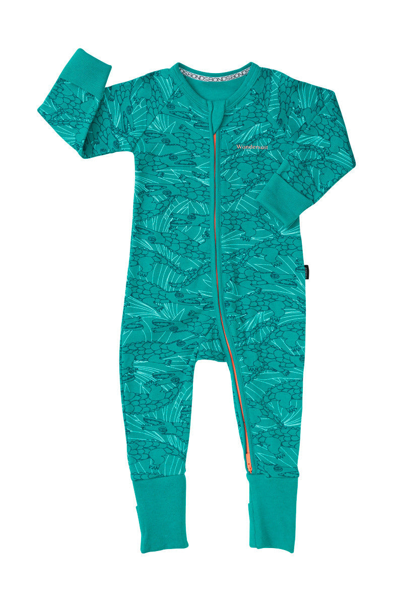 Bonds Rib Zip Wondersuit Whats Up Croc Green Sportif