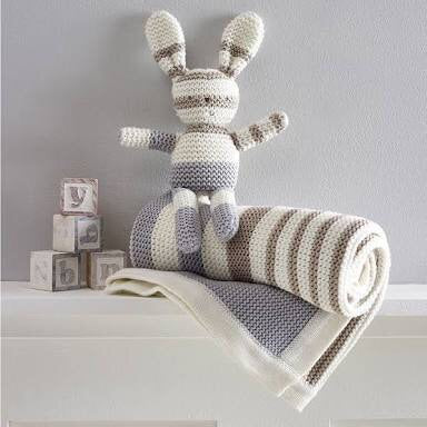 Natures purest organic cotton bunny grey stripe
