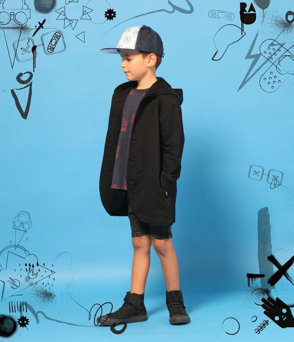 Band of Boys The Bones Collection Black Hooded Cardigan