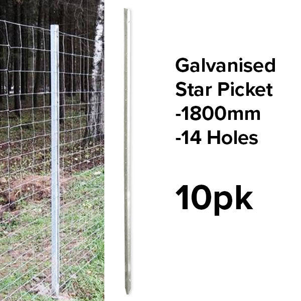 1800mm Star Pickets (Galvanised) - Heavy Duty - (10pk or Slings)