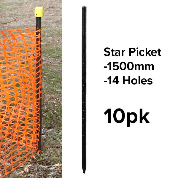 Star Pickets (Black) - 1500mm - (10pk or Slings)