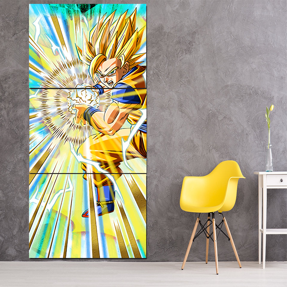 Dragon Ball Goku Kamekameha Fan Art Design 3Pc Canvas Print — Saiyan ...