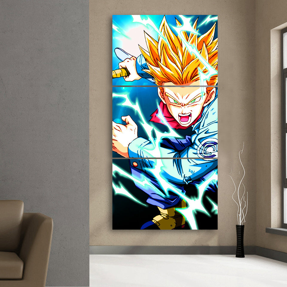 Dragon Ball Angry Trunks Lighting Aura Dope 3Pc Canvas Print