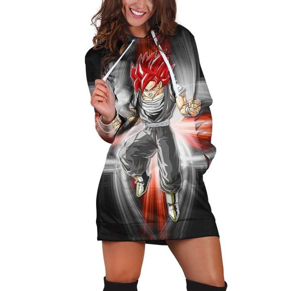 Dragon Ball Super Son Goku Red Kaioken Silver Hoodie Dress