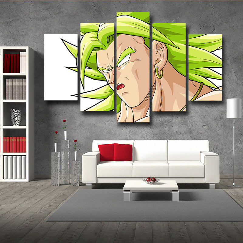 DBZ Broly Legend Super Saiyan Portrait Dope 5pc Wall Art Decor Posters Canvas Prints