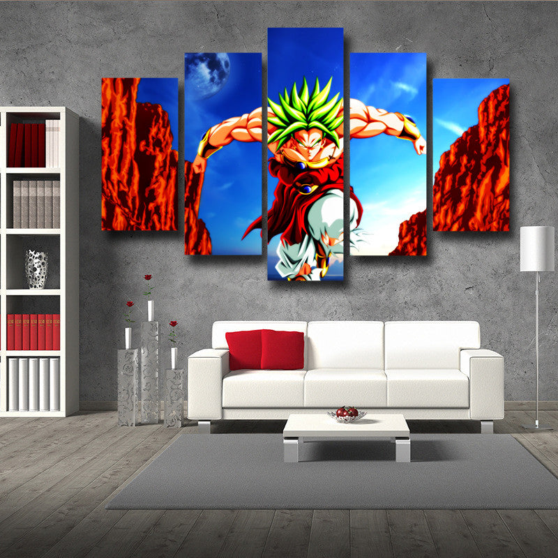 Dragon ball broly super saiyan villain 5pc wall art decor for Dragon ball z living room
