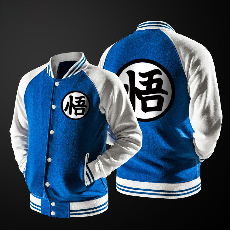 Dragon Ball Goku Mandarin Collar Blue Bomber Baseball Varsity Jacket