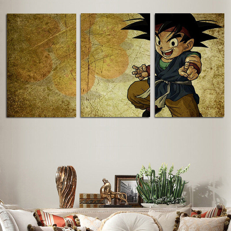 Dragon Ball Kid Goku Vintage Color Theme 3pc Wall Art Decor Canvas ...