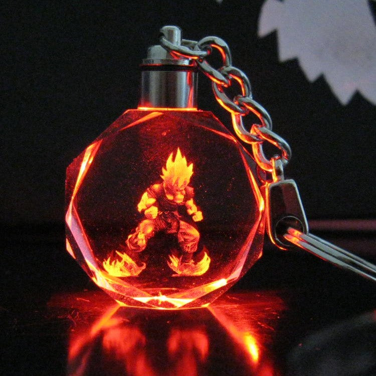 Dragon Ball Super Saiyan Goku Crystal LED Flash Color Keychain Pendant