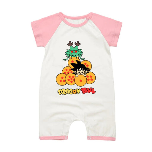DBZ The Legendary Shenron And Kid Goku Pink Baby Romper