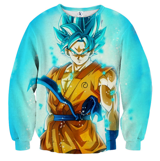 20679add53 3D Printed Dragon Ball Goku Blue Flame Sweatshirt