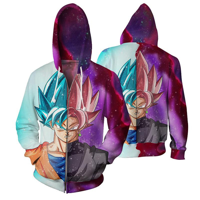 DBZ Goku SSGSS God Blue Rose Saiyan Fashion Zip Up Hoodie