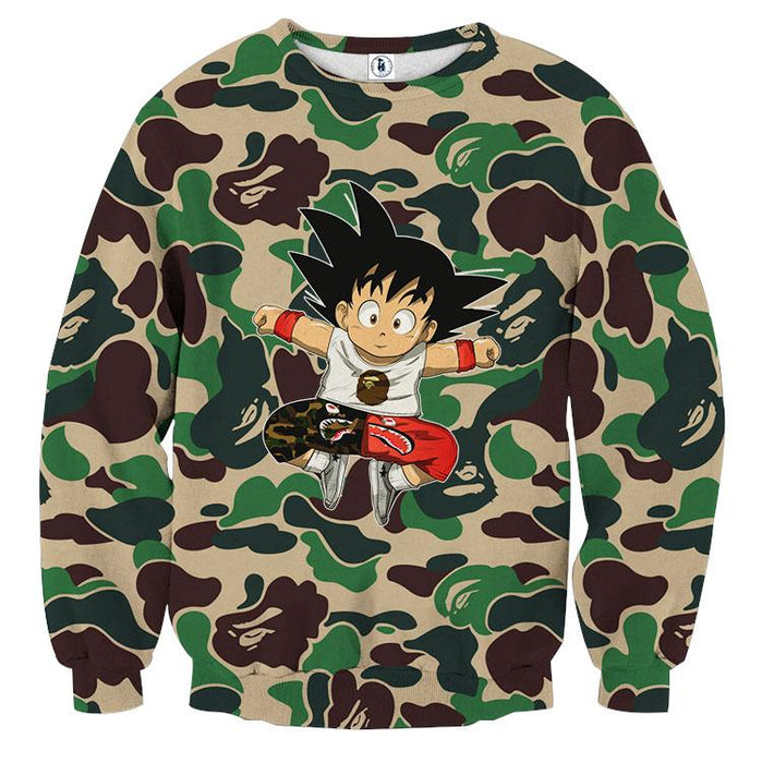 Cute Jumping Kid Goku Camouflage Fashion Sweatshirt