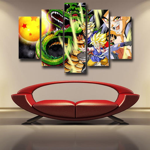 Shenron Goku Kid Pan Vibrant 5pc Wall Art Decor Canvas Print