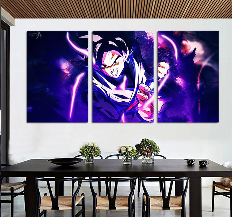DBS Powerful Goku Black Purple 3pcs Wall Art Canvas Print