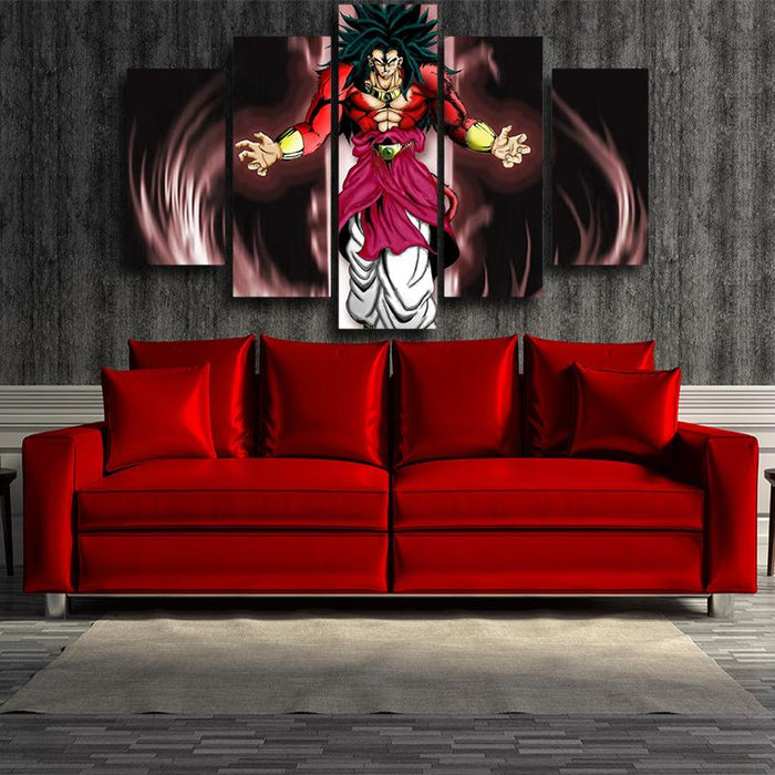 Dragon Ball Broly SSJ4 Fan Art 5pc Wall Art Canvas Prints