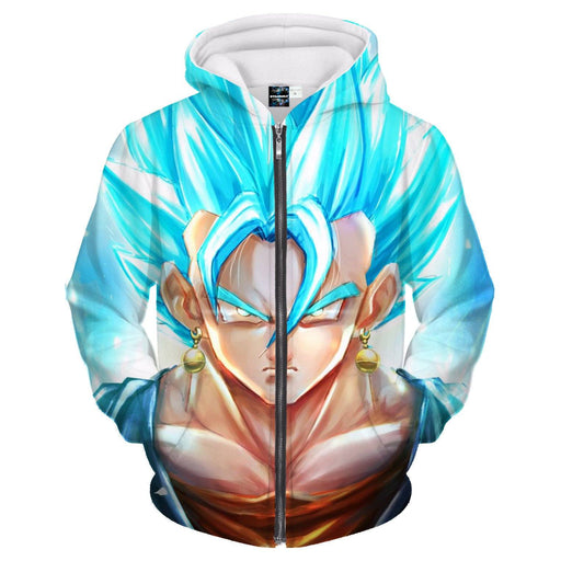 DBZ Goku God Saiyan Blue SSGSS Potara Fusion Design Zipper Hoodie