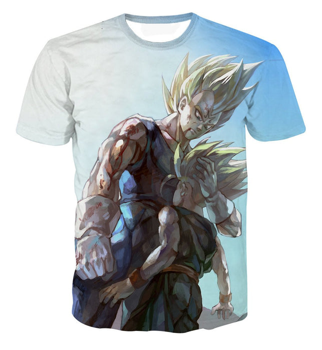 Father and Son Bloody Majin Vegeta Super Saiyan Kid Trunks 3D T-shirt