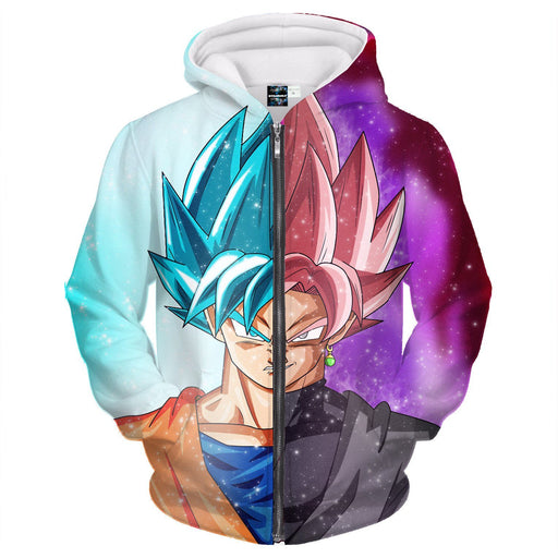DBZ Goku SSGSS God Blue Rose Saiyan Fashion Zipper Hoodie