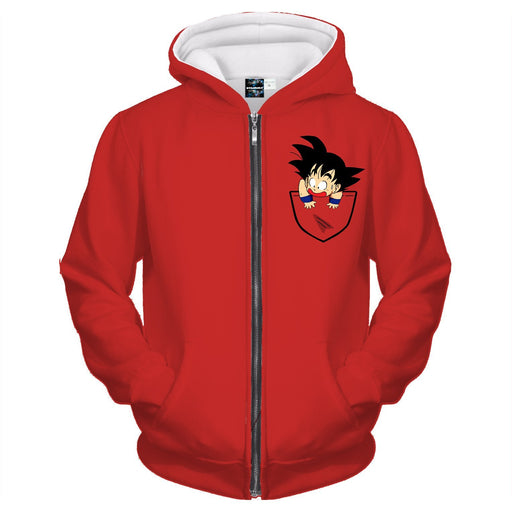 Dragon Ball Cute Goku Kid Pocket Simple Design Zipper Hoodie