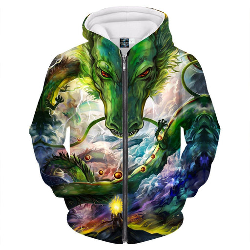 Shenron DBZ The Powerful Eternal Dragon Battle Zipper Hoodie