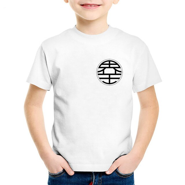 DBZ World King King Kai's Kanji Logo Kids White T-Shirt