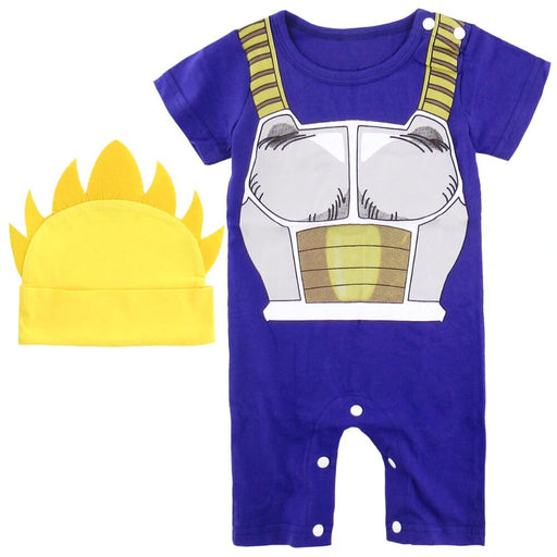 Vegeta's Armor Cosplay Blue Baby Jumpsuit With Turtle Hat