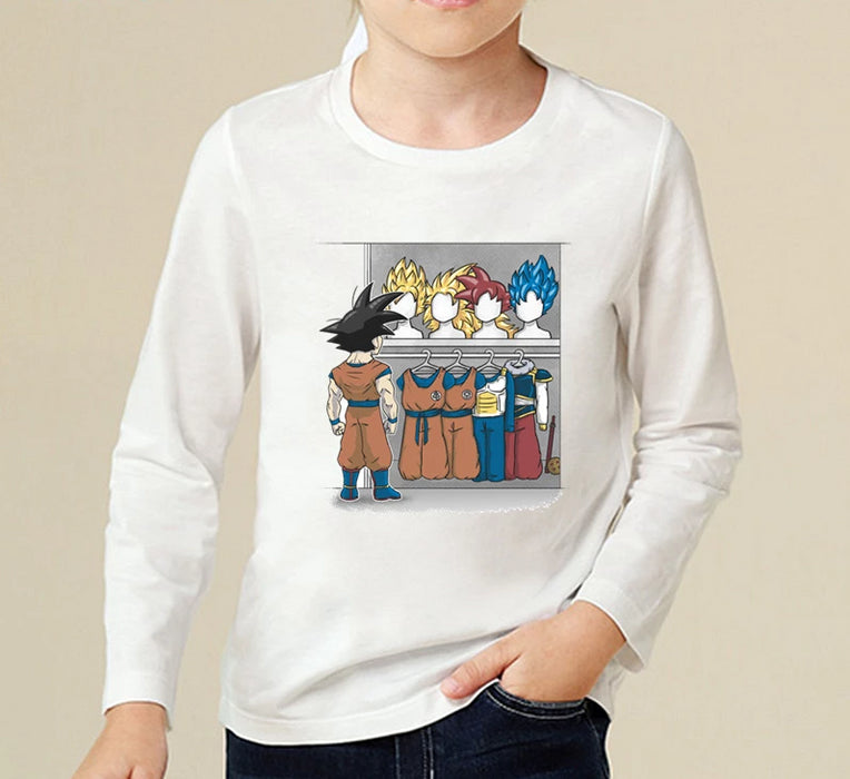 Son Goku And His Amazing Wardrobe Kids Long Sleeve T-Shirt