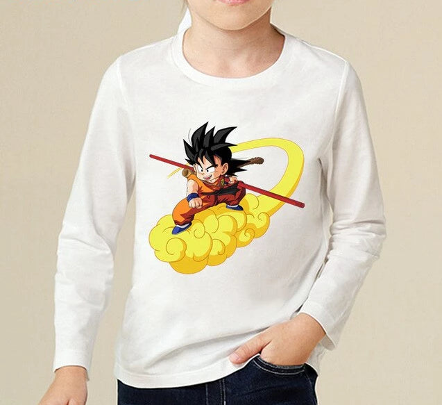 Desperate Kid Goku In His Nimbus Clouds Long Sleeve T-Shirt