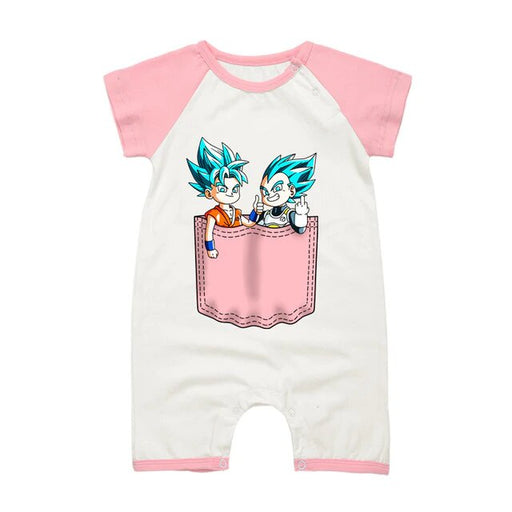 Dragon Ball Z Goku & Vegeta Pink Short Sleeve Baby Romper