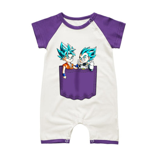 Dragon Ball Z Goku & Vegeta Purple Short Sleeve Baby Romper