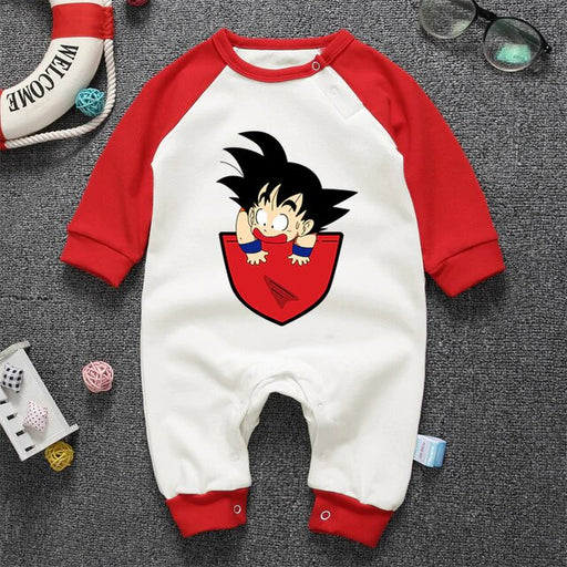 Dragon Ball Z Jolly Kid Goku Red Long Sleeve Baby Jumpsuit