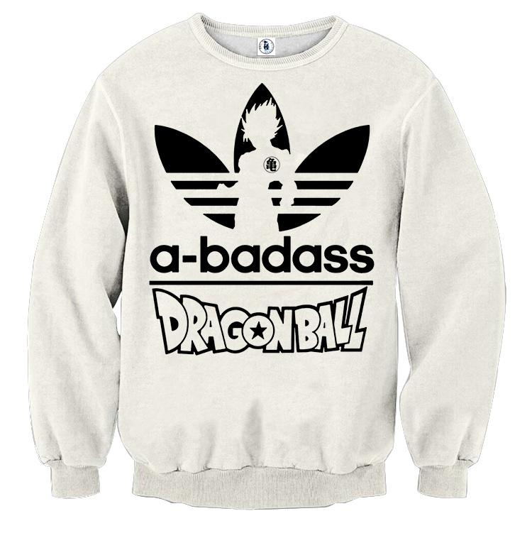 A-Badass Adidas Parody Dragon Ball Goku White Stylish Sweatshirt