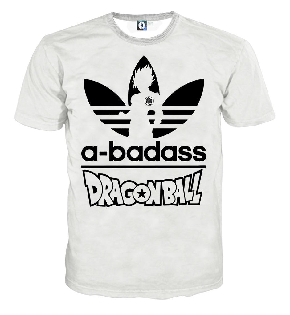 4a3c7f48018c0 A-Badass Adidas Parody Dragon Ball Goku White Stylish T-shirt