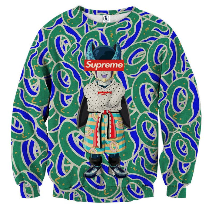 Supreme Villain Perfect Cell Green Blue Trendy Sweatshirt