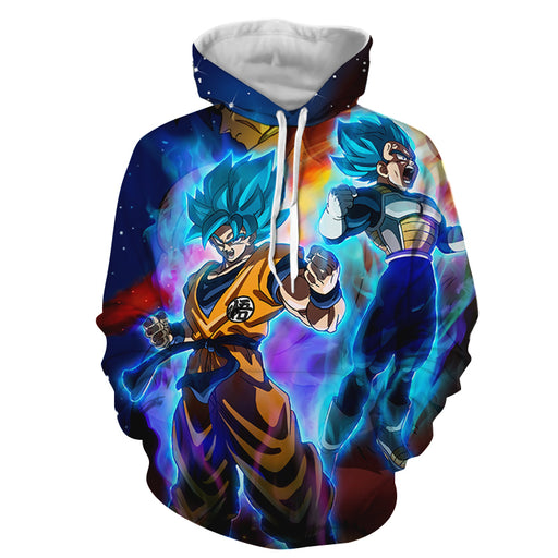 Super Saiyan God Blue Goku and Vegeta Full Print 3D Hoodie