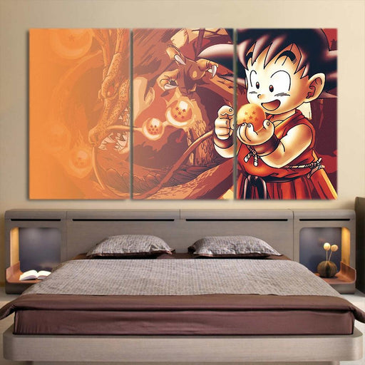 Cute Goku Kid Catch Dragon Ball Vintage Decor 3pc Canvas Print