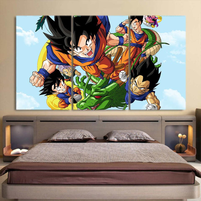 DBZ Goku Vegeta Gohan Super Saiyan Warrior Vibrant 3pc Wall Art
