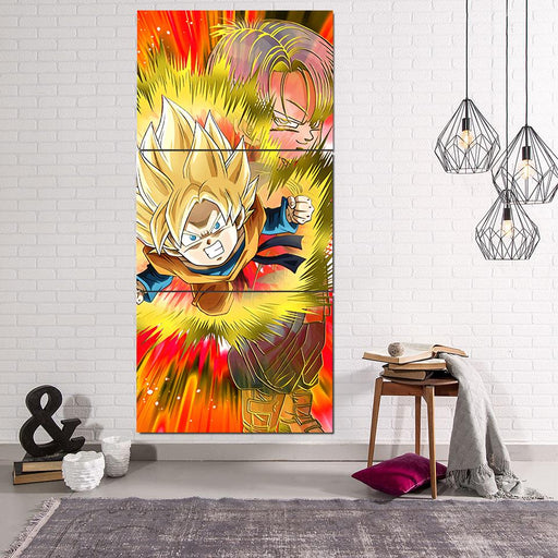 Dragon Ball Goten Trunks Kid Angry Aura 3Pc Canvas Print