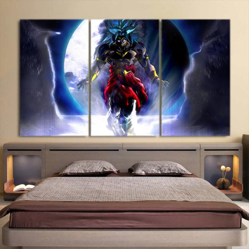 Dragon Ball Super Saiyan Broly Dark Theme 3pc Wall Art Print