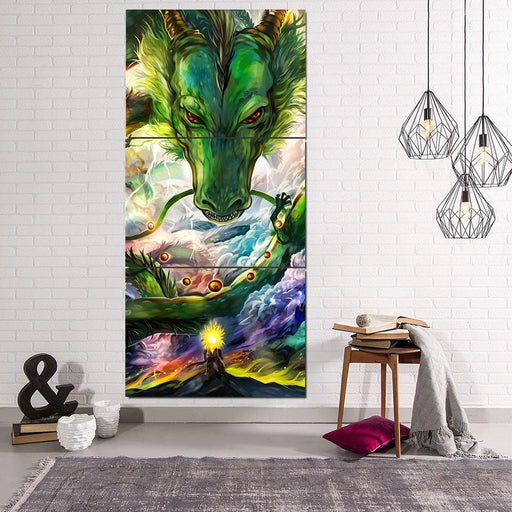 Shenron DBZ Powerful Dragon Battle 3Pc Canvas Print