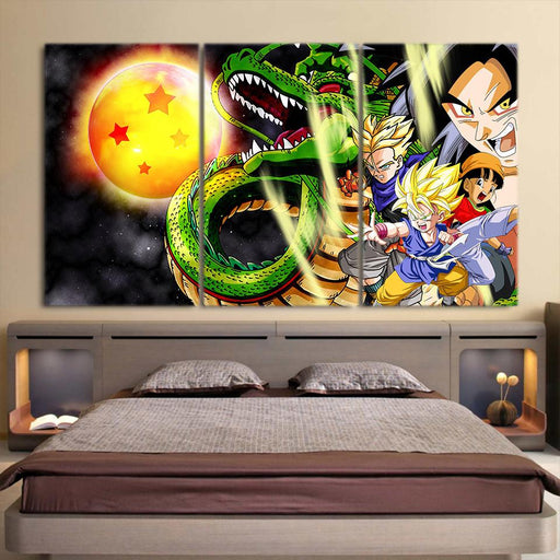 Shenron Goku Kid Pan Vibrant 3pc Wall Art Decor Canvas Prints