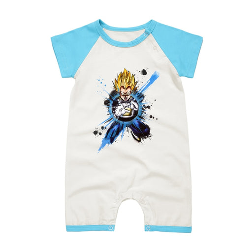 DBZ The Formidable Vegeta SSJ1 Short Sleeve Baby Romper