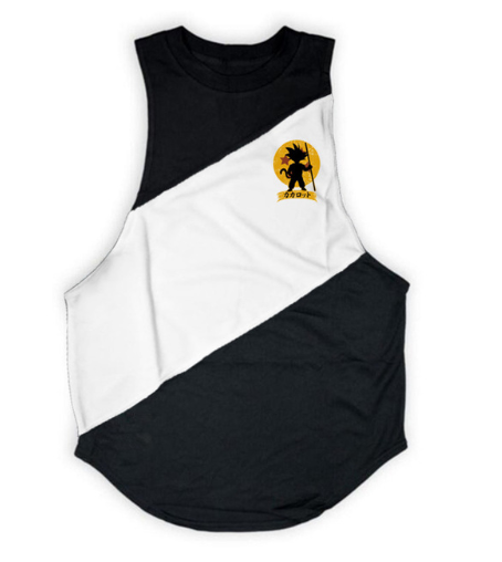 DBZ Kid Goku Shadow Logo Black & White Muscle Tank Top