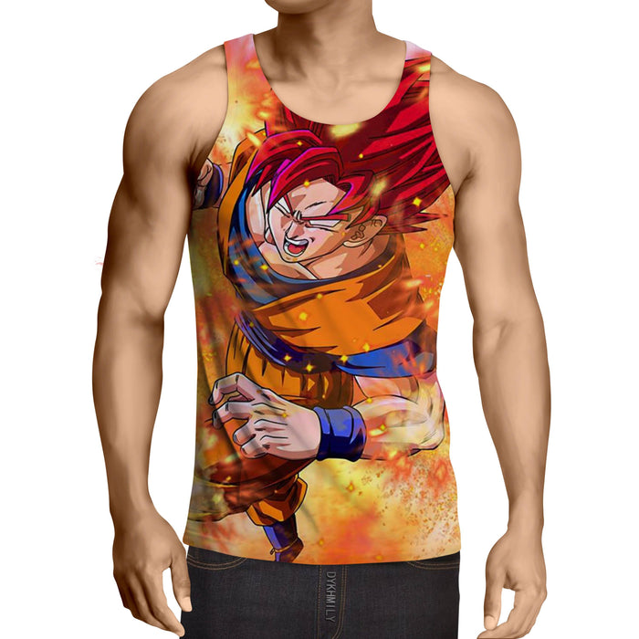 Dragon Ball Goku Super Saiyan Rose Fighting Design Tank Top